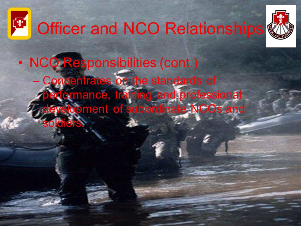 Officer and NCO Relationships NCO Responsibilities (cont.) –Concentrates on the standards of performance, training and professional development of sub
