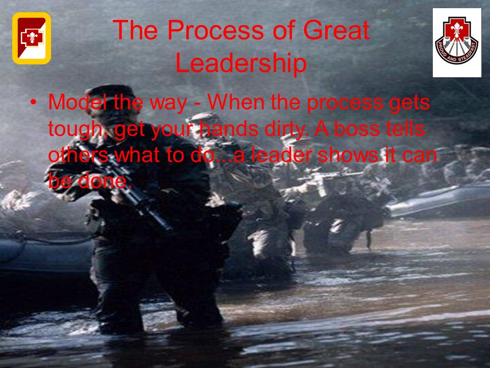 The Process of Great Leadership Model the way - When the process gets tough, get your hands dirty. A boss tells others what to do...a leader shows it