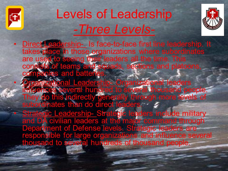 Levels of Leadership -Three Levels- Direct Leadership- Is face-to-face first line leadership. It takes place in those organizations where subordinates