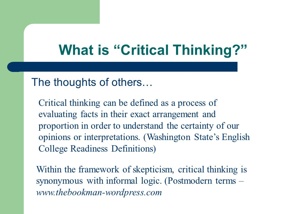 Examples of critical thinking essays