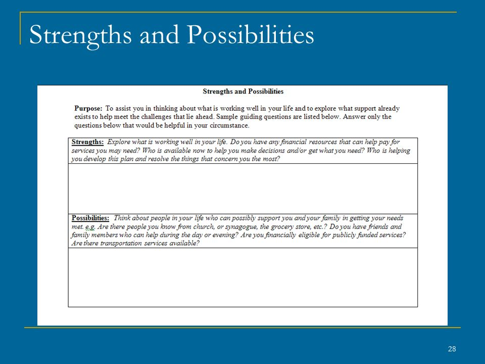 Strengths and Possibilities 28