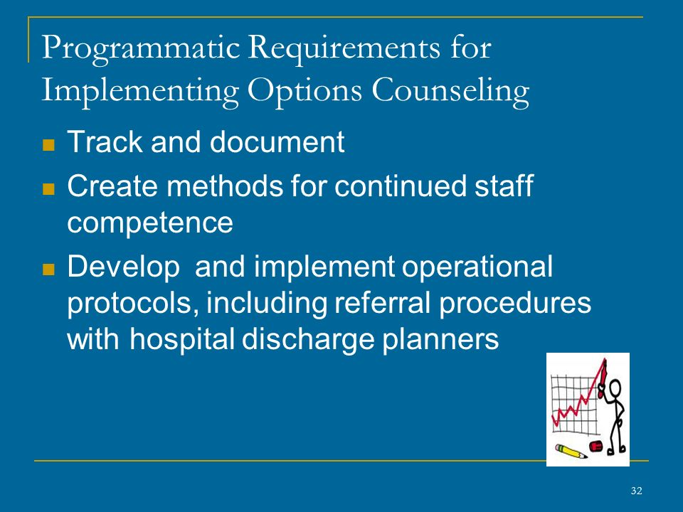 Programmatic Requirements for Implementing Options Counseling Track and document Create methods for continued staff competence Develop and implement operational protocols, including referral procedures with hospital discharge planners 32