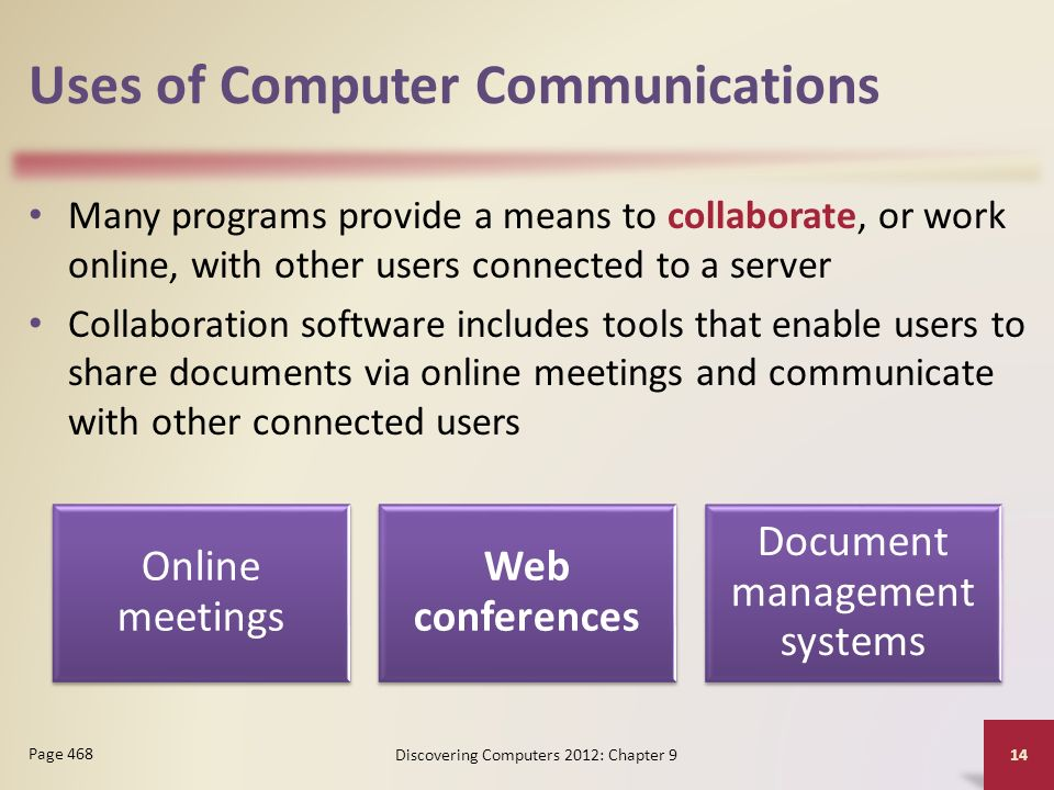 Uses of Computer Communications Many programs provide a means to collaborate, or work online, with other users connected to a server Collaboration software includes tools that enable users to share documents via online meetings and communicate with other connected users Discovering Computers 2012: Chapter 9 14 Page 468 Online meetings Web conferences Document management systems