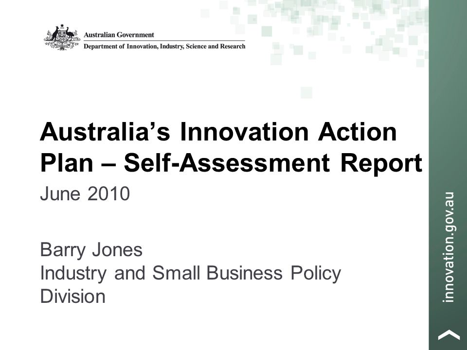 Australia's Innovation Action Plan – Self-Assessment Report June 2010 Barry Jones Industry and Small Business Policy Division