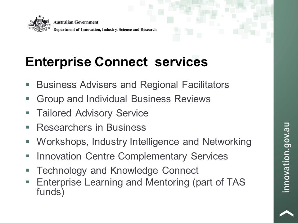 Enterprise Connect services  Business Advisers and Regional Facilitators  Group and Individual Business Reviews  Tailored Advisory Service  Researchers in Business  Workshops, Industry Intelligence and Networking  Innovation Centre Complementary Services  Technology and Knowledge Connect  Enterprise Learning and Mentoring (part of TAS funds)