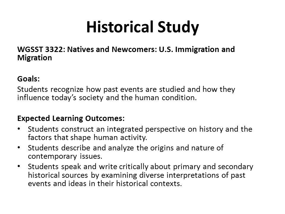 Historical Study WGSST 3322: Natives and Newcomers: U.S.