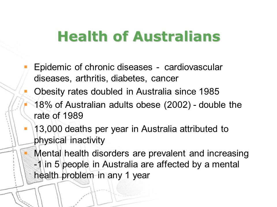 Health of Australians  Epidemic of chronic diseases - cardiovascular diseases, arthritis, diabetes, cancer  Obesity rates doubled in Australia since 1985  18% of Australian adults obese (2002) - double the rate of 1989  13,000 deaths per year in Australia attributed to physical inactivity  Mental health disorders are prevalent and increasing -1 in 5 people in Australia are affected by a mental health problem in any 1 year
