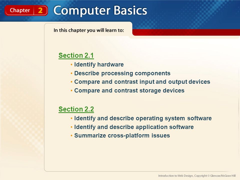 Section 2.1 Identify hardware Describe processing components Compare and contrast input and output devices Compare and contrast storage devices Section 2.2 Identify and describe operating system software Identify and describe application software Summarize cross-platform issues