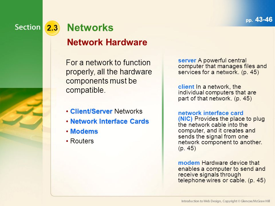 Networks Network Hardware For a network to function properly, all the hardware components must be compatible.
