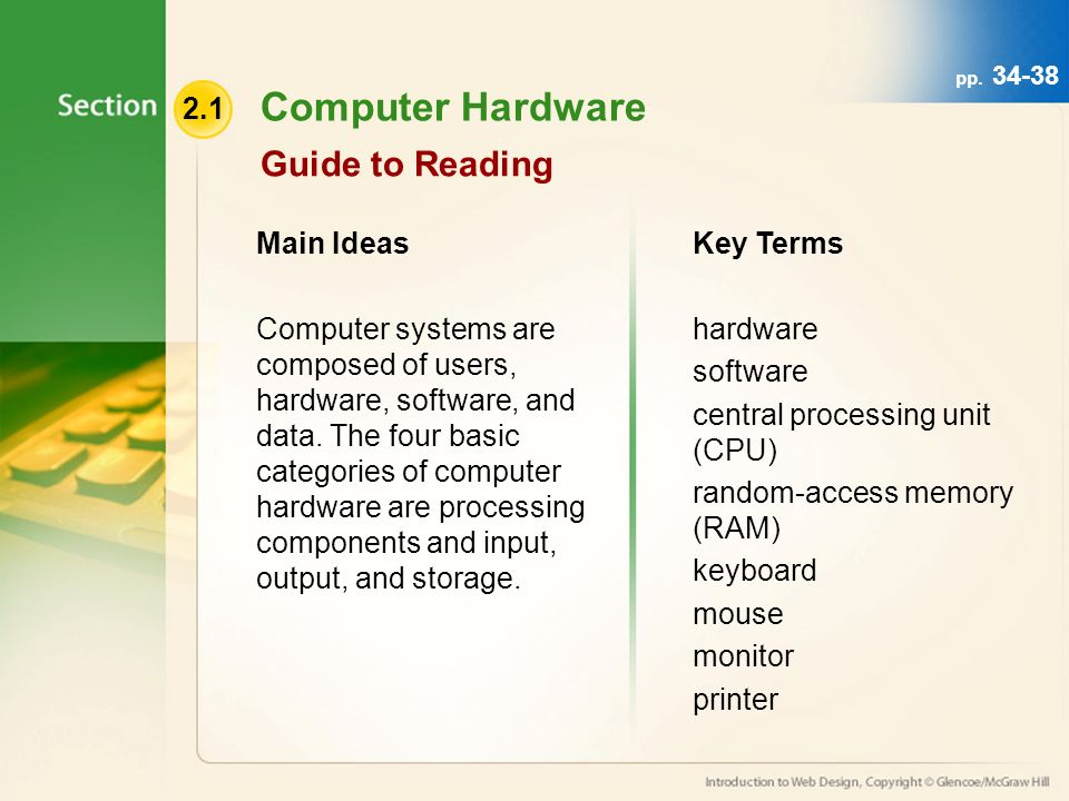 Computer Hardware Guide to Reading Main Ideas Computer systems are composed of users, hardware, software, and data.
