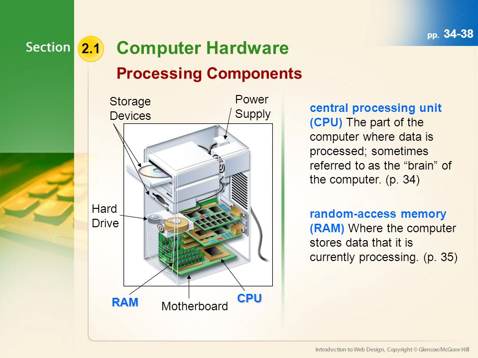 Computer Hardware Processing Components central processing unit (CPU) The part of the computer where data is processed; sometimes referred to as the brain of the computer.