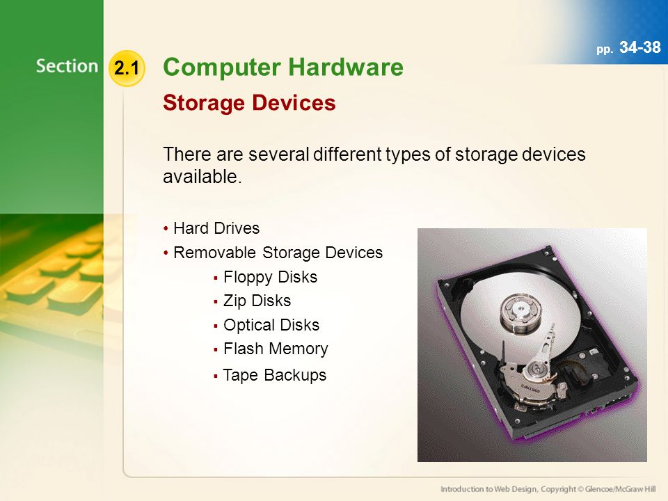 Computer Hardware There are several different types of storage devices available.