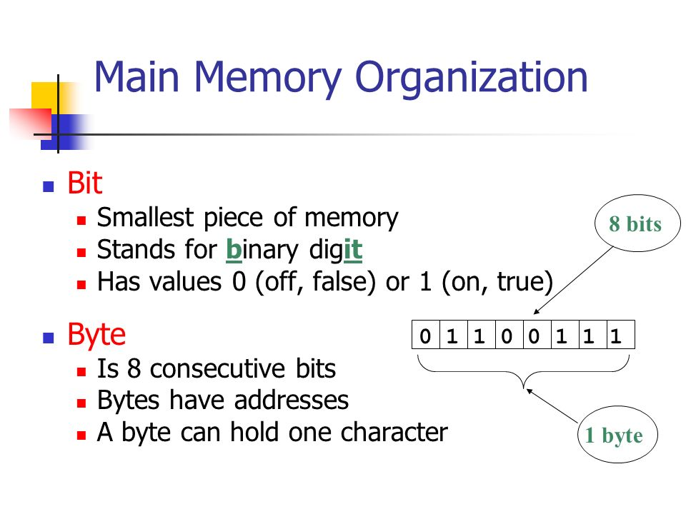 Main Memory Organization Bit Smallest piece of memory Stands for binary digit Has values 0 (off, false) or 1 (on, true) Byte Is 8 consecutive bits Bytes have addresses A byte can hold one character bits 1 byte