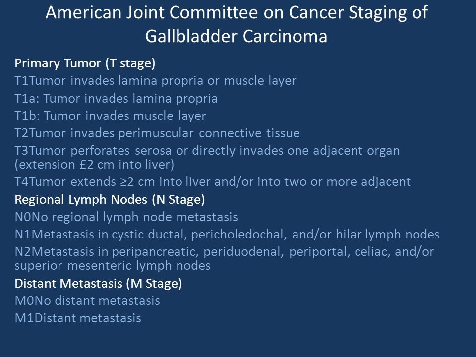 American Joint Committee on Cancer Staging of Gallbladder Carcinoma Primary Tumor (T stage) T1Tumor invades lamina propria or muscle layer T1a: Tumor invades lamina propria T1b: Tumor invades muscle layer T2Tumor invades perimuscular connective tissue T3Tumor perforates serosa or directly invades one adjacent organ (extension £2 cm into liver) T4Tumor extends ≥2 cm into liver and/or into two or more adjacent Regional Lymph Nodes (N Stage) N0No regional lymph node metastasis N1Metastasis in cystic ductal, pericholedochal, and/or hilar lymph nodes N2Metastasis in peripancreatic, periduodenal, periportal, celiac, and/or superior mesenteric lymph nodes Distant Metastasis (M Stage) M0No distant metastasis M1Distant metastasis
