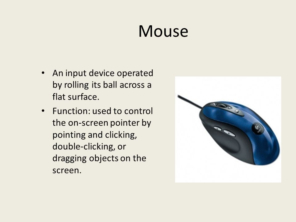 Mouse An input device operated by rolling its ball across a flat surface.