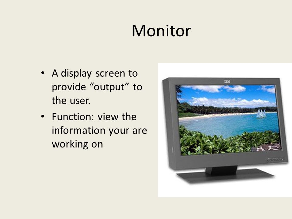 Monitor A display screen to provide output to the user.