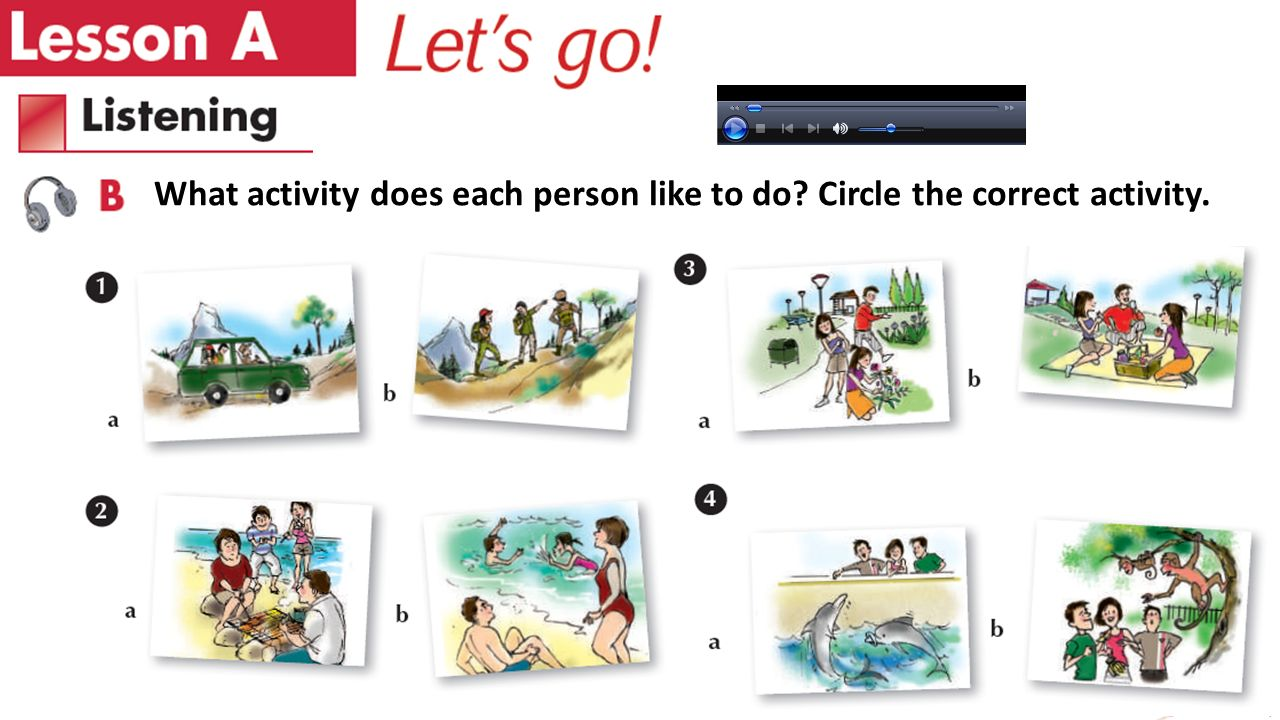 What activity does each person like to do Circle the correct activity.