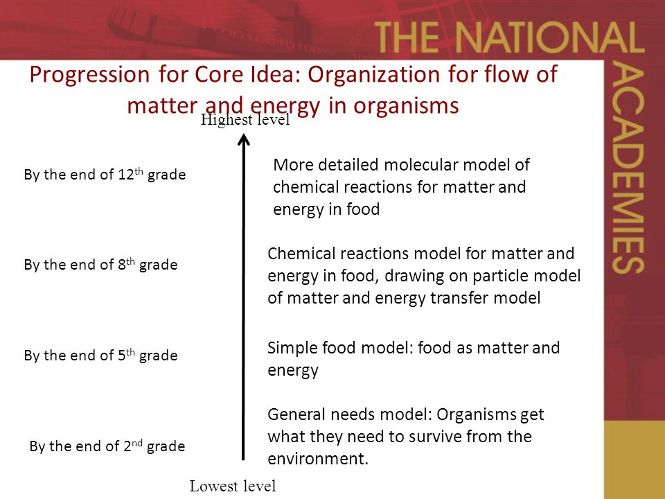 Progression for Core Idea: Organization for flow of matter and energy in organisms Highest level Lowest level By the end of 8 th grade Chemical reactions model for matter and energy in food, drawing on particle model of matter and energy transfer model Simple food model: food as matter and energy General needs model: Organisms get what they need to survive from the environment.