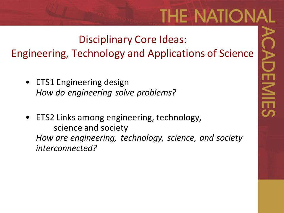 Disciplinary Core Ideas: Engineering, Technology and Applications of Science ETS1 Engineering design How do engineering solve problems.