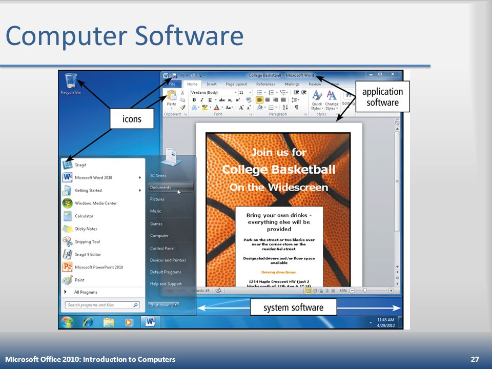 Computer Software Microsoft Office 2010: Introduction to Computers27