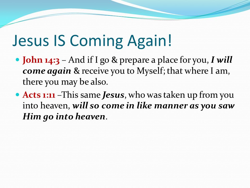 Jesus IS Coming Again.