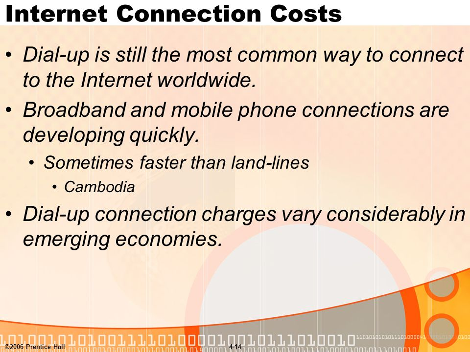 ©2006 Prentice Hall4-14 Internet Connection Costs Dial-up is still the most common way to connect to the Internet worldwide.