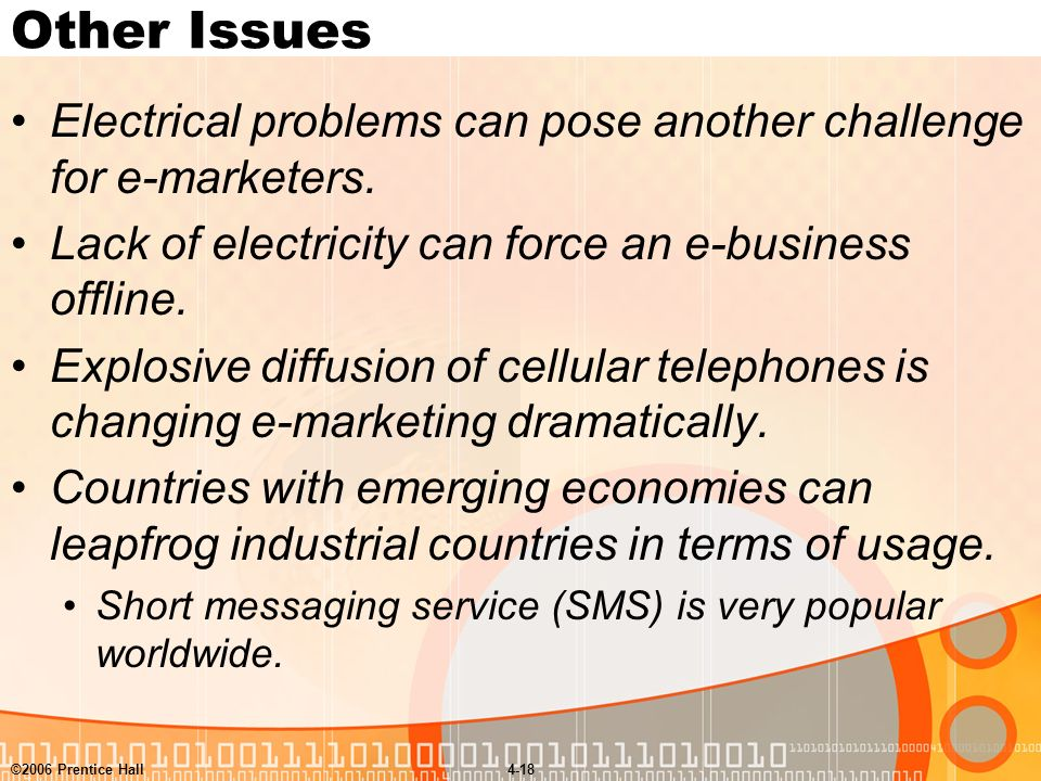 ©2006 Prentice Hall4-18 Other Issues Electrical problems can pose another challenge for e-marketers.