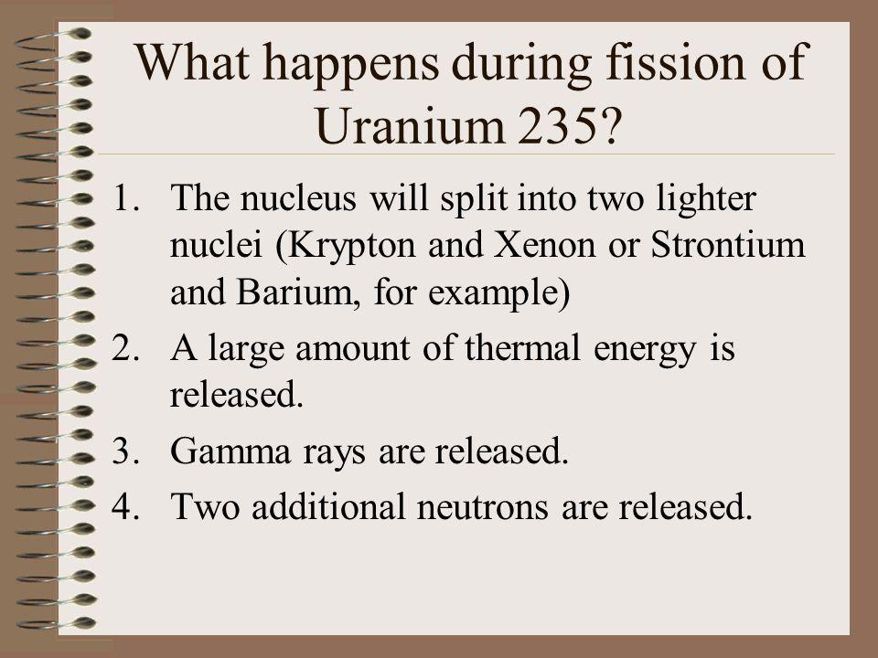 What happens during fission of Uranium 235.