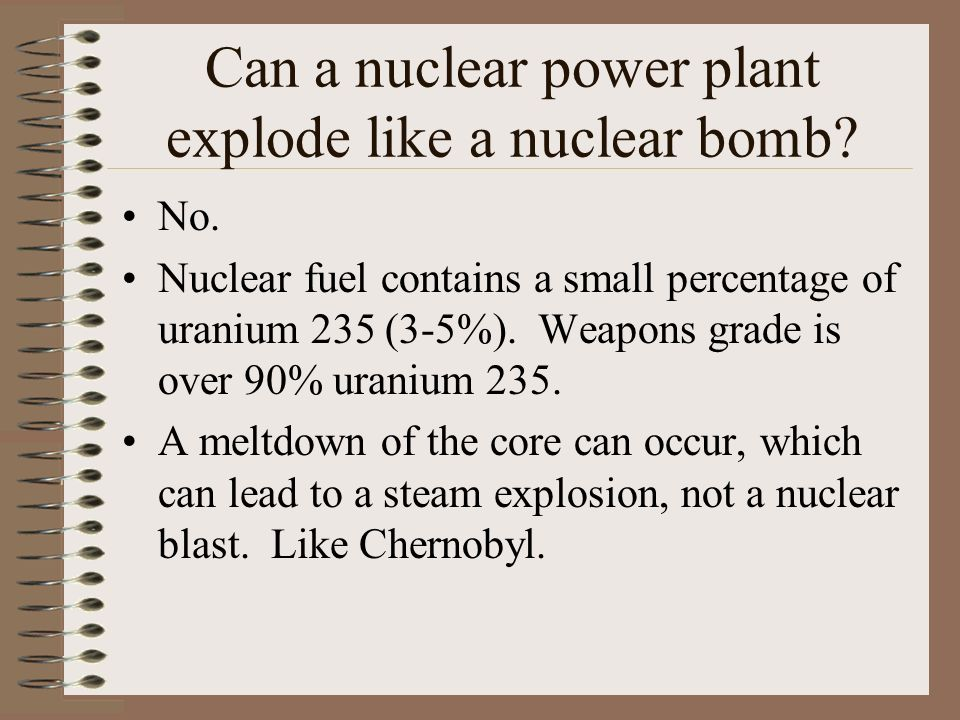 Can a nuclear power plant explode like a nuclear bomb.