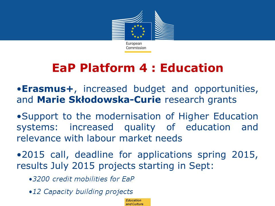 Date: in 12 pts EaP Platform 4 : Education Erasmus+, increased budget and opportunities, and Marie Skłodowska-Curie research grants Support to the modernisation of Higher Education systems: increased quality of education and relevance with labour market needs 2015 call, deadline for applications spring 2015, results July 2015 projects starting in Sept: 3200 credit mobilities for EaP 12 Capacity building projects Education and Culture