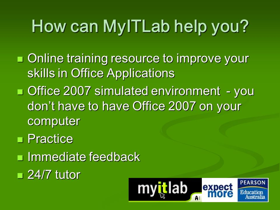 How can MyITLab help you.