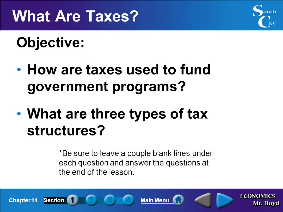 Chapter 14SectionMain Menu What Are Taxes.