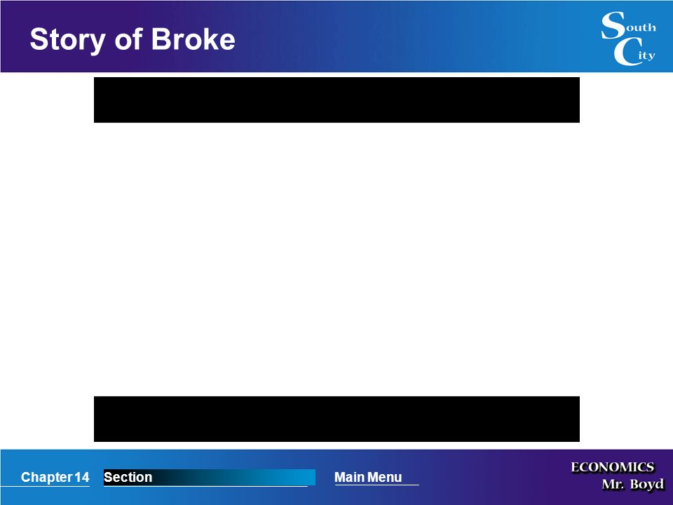 Chapter 14SectionMain Menu Story of Broke