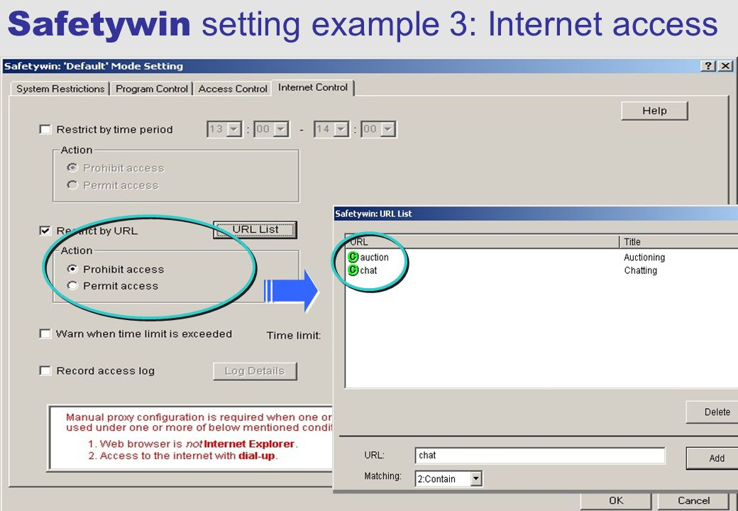 All Rights Reserved, Copyright © FUJITSU LTD. 2003 51 Safetywin setting example 3: Internet access
