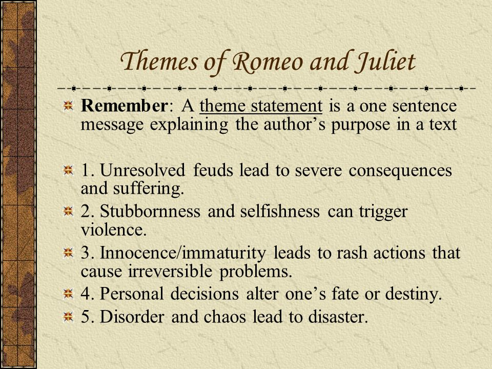 How could I explain the feud in Romeo and Juliet?