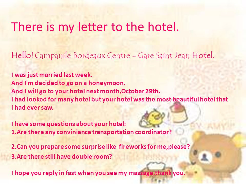 There Is My Letter To The Hotel. Hello. Campanile Bordeaux Centre   Gare  Saint