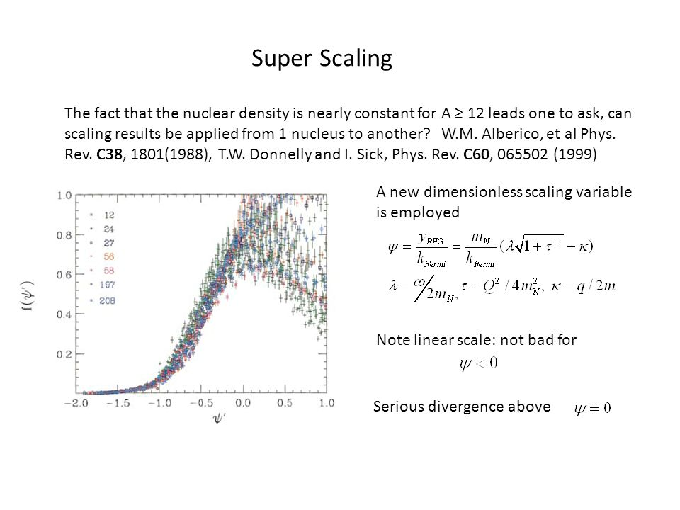 Super Scaling The fact that the nuclear density is nearly constant for A ≥ 12 leads one to ask, can scaling results be applied from 1 nucleus to another.