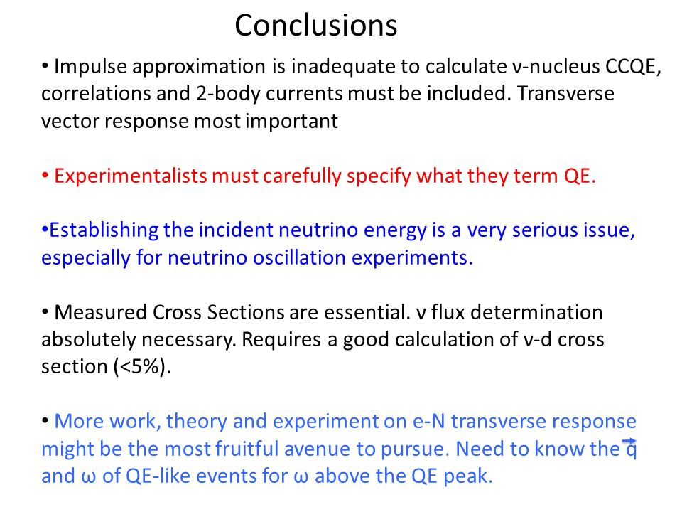 Conclusions Impulse approximation is inadequate to calculate ν-nucleus CCQE, correlations and 2-body currents must be included.