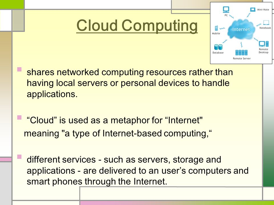 Cloud Computing shares networked computing resources rather than having local servers or personal devices to handle applications.