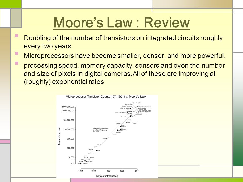 Moore's Law : Review Doubling of the number of transistors on integrated circuits roughly every two years.