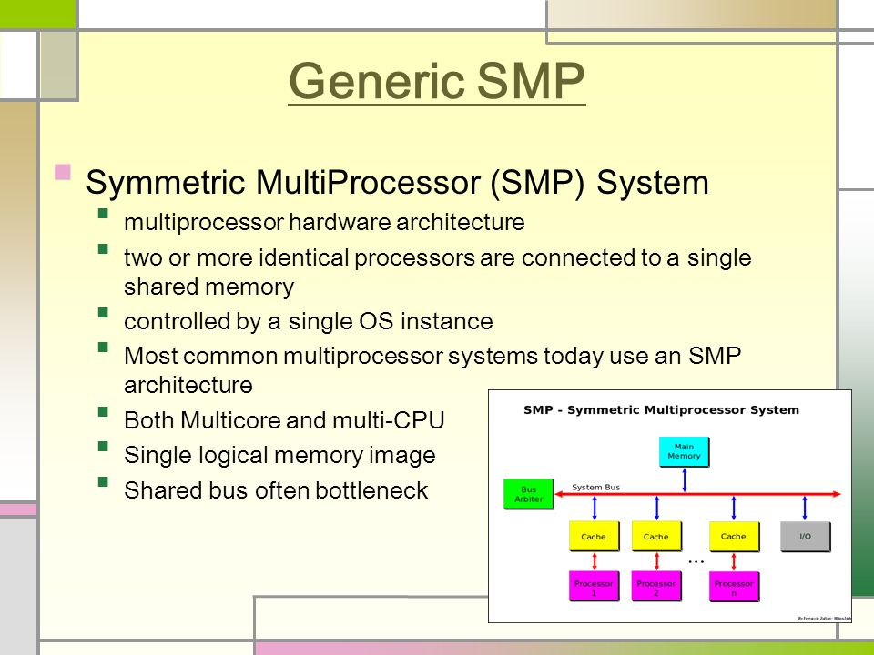 Generic SMP Symmetric MultiProcessor (SMP) System multiprocessor hardware architecture two or more identical processors are connected to a single shared memory controlled by a single OS instance Most common multiprocessor systems today use an SMP architecture Both Multicore and multi-CPU Single logical memory image Shared bus often bottleneck