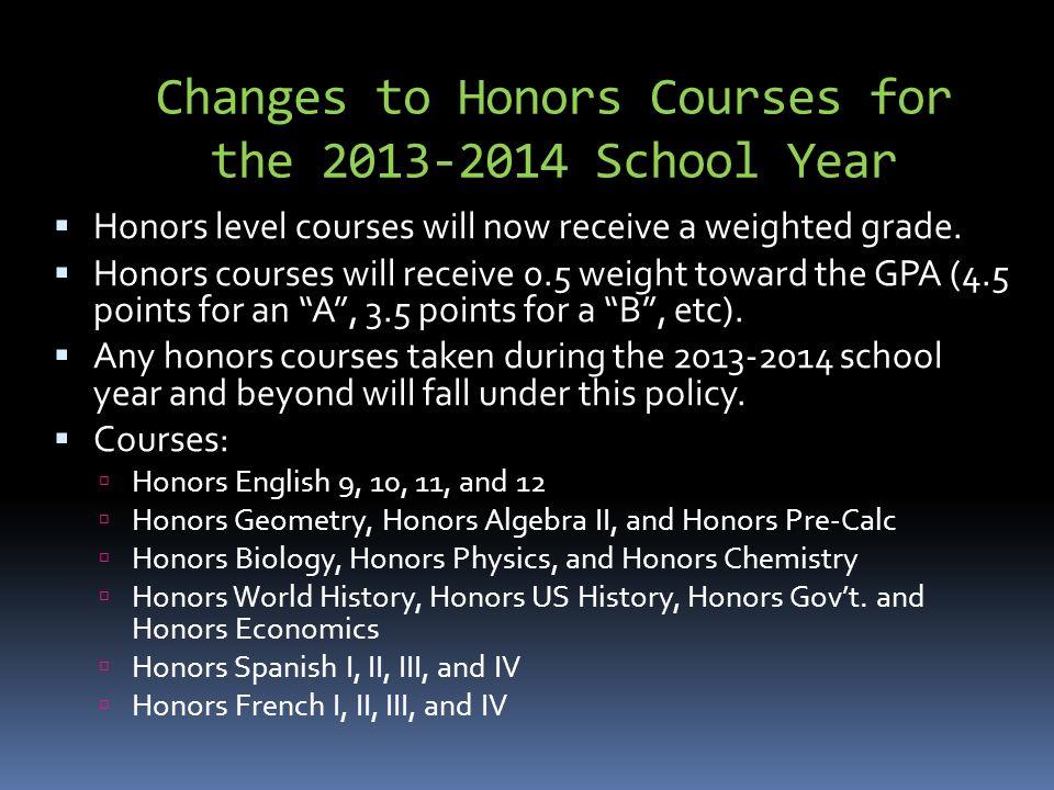 Changes to Honors Courses for the School Year  Honors level courses will now receive a weighted grade.