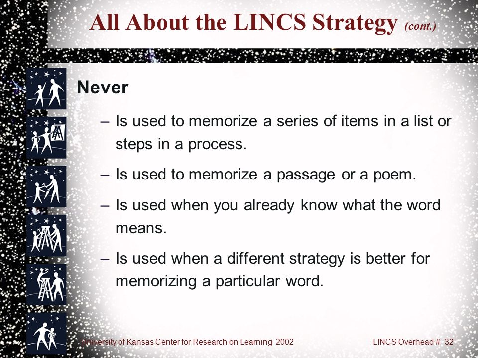 University of Kansas Center for Research on Learning 2002LINCS Overhead # 32 All About the LINCS Strategy (cont.) Never –Is used to memorize a series of items in a list or steps in a process.