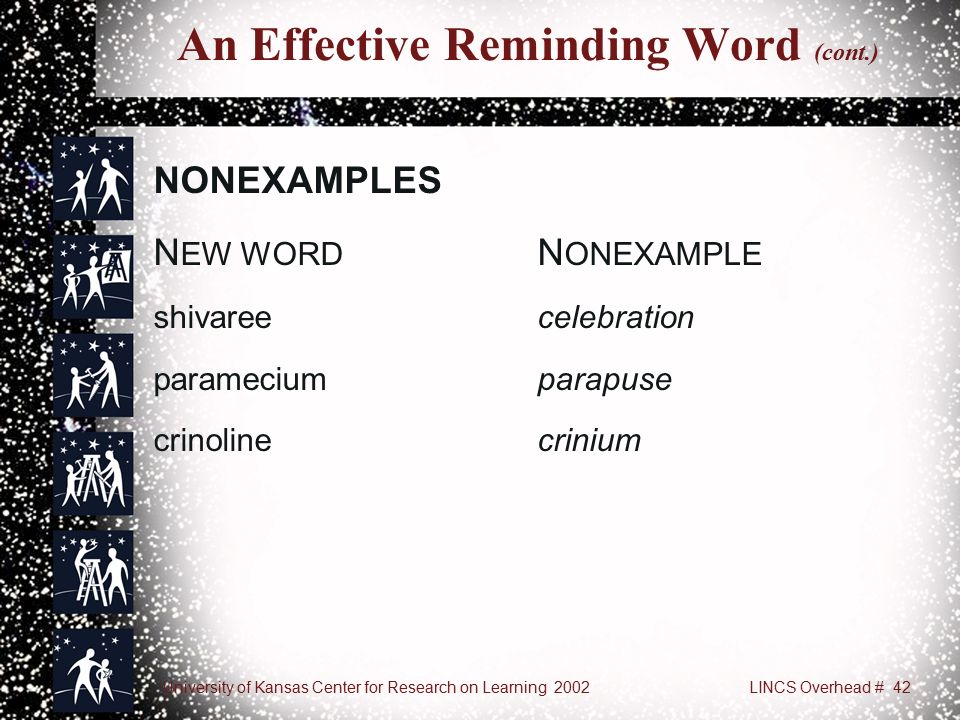 University of Kansas Center for Research on Learning 2002LINCS Overhead # 42 An Effective Reminding Word (cont.) NONEXAMPLES N EW WORD N ONEXAMPLE shivareecelebration parameciumparapuse crinolinecrinium
