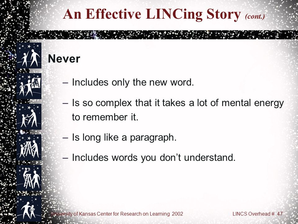 University of Kansas Center for Research on Learning 2002LINCS Overhead # 47 An Effective LINCing Story (cont.) Never –Includes only the new word.