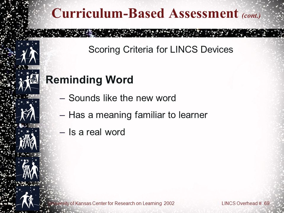 University of Kansas Center for Research on Learning 2002LINCS Overhead # 69 Curriculum-Based Assessment (cont.) Scoring Criteria for LINCS Devices Reminding Word –Sounds like the new word –Has a meaning familiar to learner –Is a real word