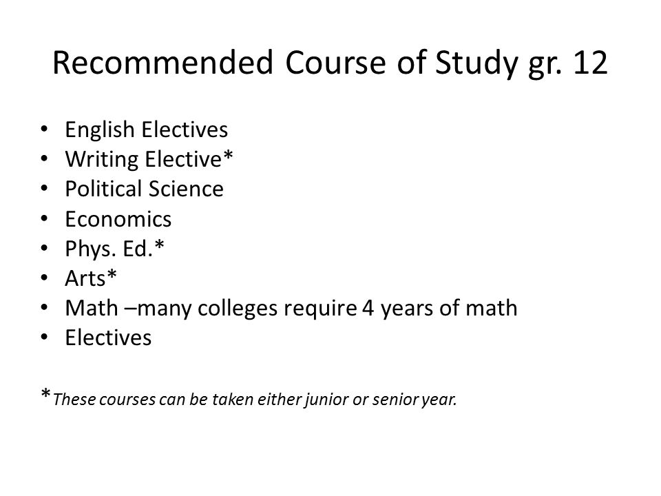 Recommended Course of Study gr.