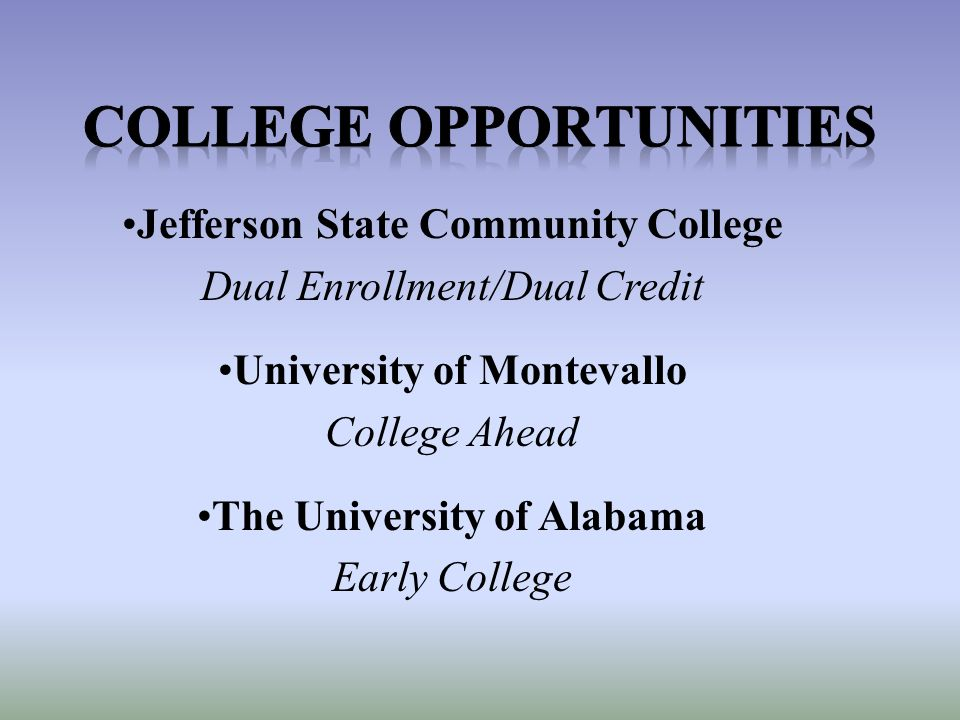Jefferson State Community College Dual Enrollment/Dual Credit University of Montevallo College Ahead The University of Alabama Early College