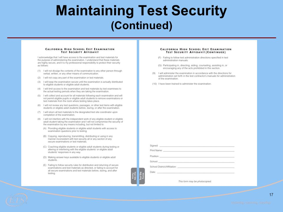 17 Maintaining Test Security (Continued)