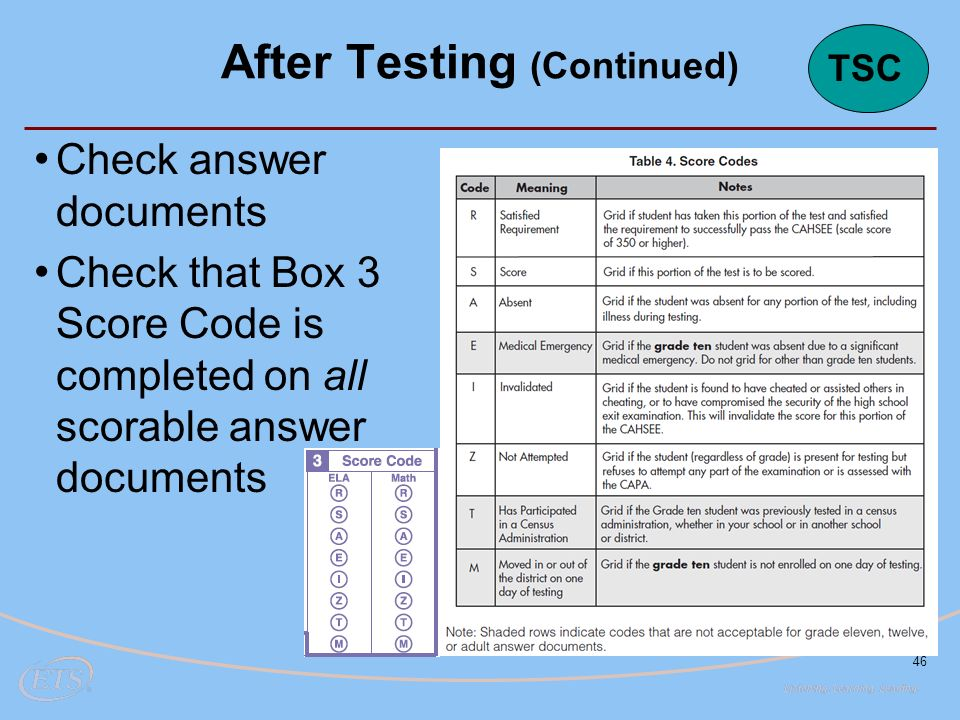 46 Check answer documents Check that Box 3 Score Code is completed on all scorable answer documents After Testing (Continued) TSC